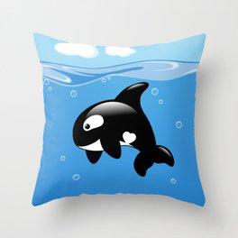 Orca, Cute Killer Whale Throw Pillow