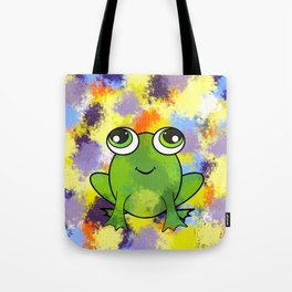 Cute frog and fresh paint Tote Bag