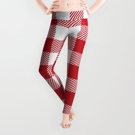 Buffalo Plaid - Red & White Leggings