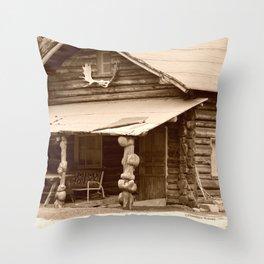 Old Log Cabin Throw Pillow