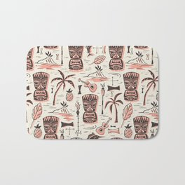 Tropical Tiki - Cream Pink Bath Mat