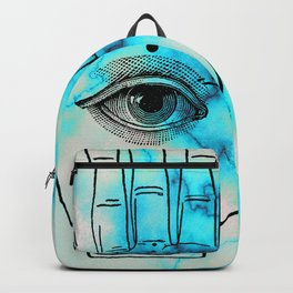 Hamsa Horus Eye Turquoise Blue Marble Backpack