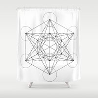 sacred geometry Shower Curtains featuring Sacred Geometry Print 3 by poindexterity