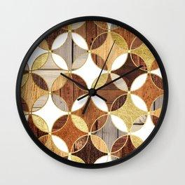 Wood and Gold Geometric Wall Clock
