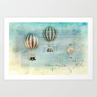 hot air balloons Art Prints featuring drifting _ hot air balloons by Vin Zzep