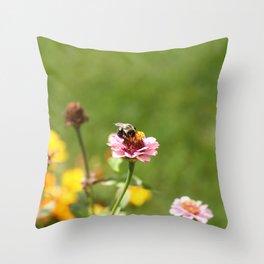 Busy Summer Bee Throw Pillow