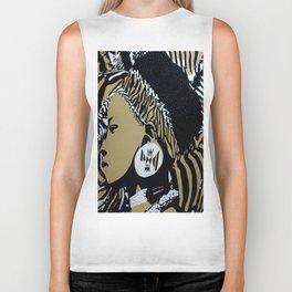 Zulu girl with zebra print 3 Biker Tank