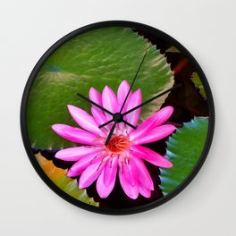 Pink Waterlily Flower Photo 6 Wall Clock