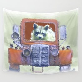 Raccoon Driving Old Red Truck Wall Tapestry