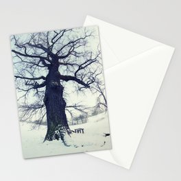 Old tree in winter - picture in color Stationery Cards