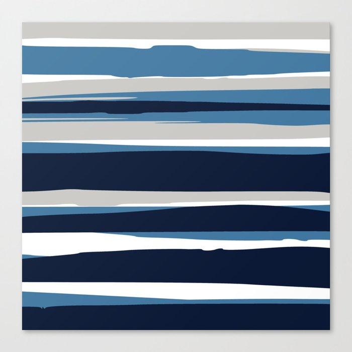 Ocean Beach Striped Landscape, Navy, Blue, Gray Leinwanddruck