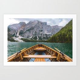 paddling through Lago di Braies Art Print