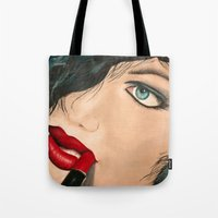 lip Tote Bags featuring Lip Stick by Stews-Art