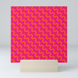 Chaotic pattern of red rhombuses and pink triangles in a zigzag. Mini Art Print