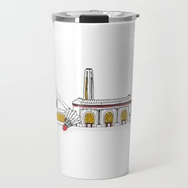 Kansas City Skyline Illustration in KC Football Colors Travel Mug