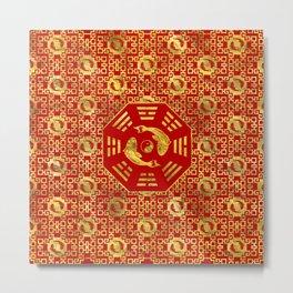 Luxury Oriental Red on Black Pair of Koi Fish in Bagua Metal Print