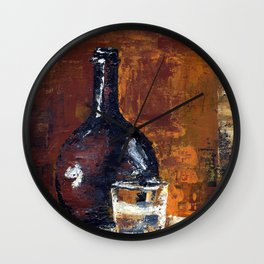 Brown Bottle with Glass Wall Clock