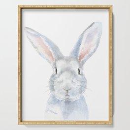 Gray Bunny Rabbit Watercolor Painting Serving Tray