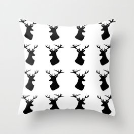 Black deer pattern Throw Pillow