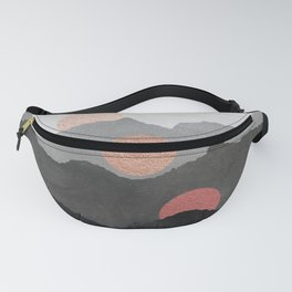 Mountains and the Moon - Black - Silver - Copper - Gold - Rose Gold Fanny Pack