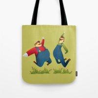 super mario Tote Bags featuring SUPER MARIO by rafael mayani
