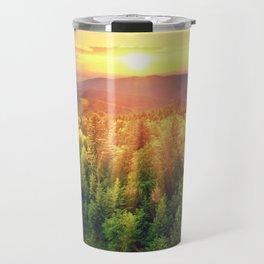Sunset over forest Travel Mug
