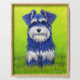 Colorful Miniature Schnauzer Dog Pet Portrait Serving Tray