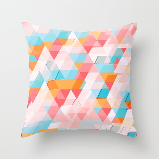 Crumbling triangles Throw Pillow