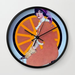 """Coles Phillips 'Fadeaway Girl' Illustration  """"The Wheel"""" Wall Clock"""