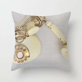 Vintage Cream and Gold Phone Throw Pillow
