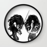 lions Wall Clocks featuring Lions And Bears Party by Jenny Liz Rome