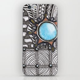 Turquoise Jeweled Tangle Art iPhone Skin