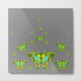 BLUE-GREEN-YELLOW PATTERNED MOTHS ON GREY Metal Print