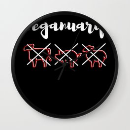 Veganuary Plant-Based Cruelty Free Life Wall Clock