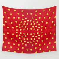 polka dots Wall Tapestries featuring Polka Dots by Fischer Fine Arts