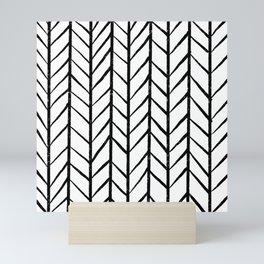 black and white modern hand drawn herringbone chevron pattern Mini Art Print