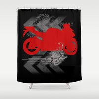racing Shower Curtains featuring Racing by Ezgi Kaya