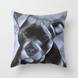 blue nose pit bull painting Throw Pillow
