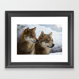 Twin Wolves Framed Art Print