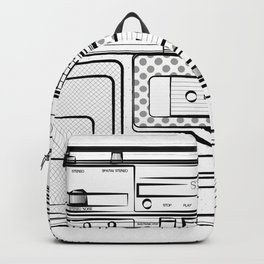 retro tape recorder illustration, cassette player drawing, 80s radio Backpack