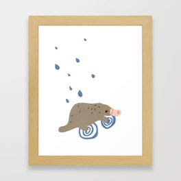 rainy day platypus Framed Art Print
