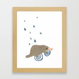 rainy day platypus Framed Art Print