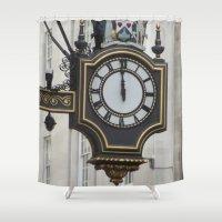 clock Shower Curtains featuring Clock by RedSpiritWolf