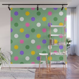 Large colorful spring polka dots Wall Mural