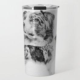 Australian Shepherd dog - Aussie pencil sketch Travel Mug