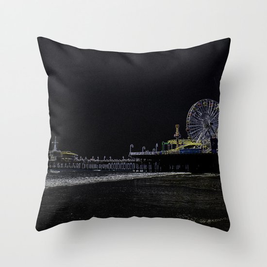 Pitch Black Neon Santa Monica Pier Throw Pillow
