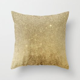 Girly Glamorous Gold Foil and Glitter Mesh Throw Pillow