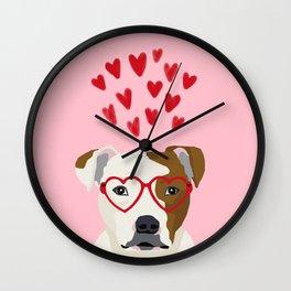 Pitbull dog breed heart glasses love hearts valentines day pibble lovers Wall Clock