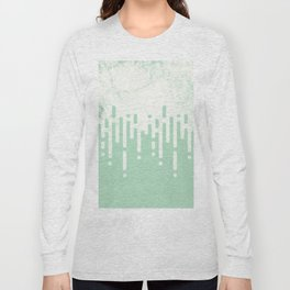 Marble and Geometric Diamond Drips, in Mint Long Sleeve T-shirt