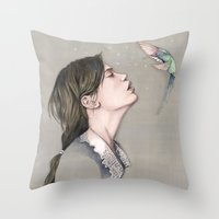 pixies Throw Pillows featuring The Pixies by Talia Gavish